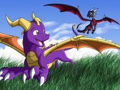 Playing Together by adamsparke on DeviantArt Spyro The Dragon, Dragon Art, Spyro And Cynder, Female Dragon, Link Zelda, Skylanders, Video Game Characters, Best Games, Furry Art