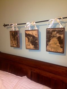 Transferred some wedding pictures (bl/wh laser prints to wood using gel medium) to wood then sanded, stained and modge podge over whole thing. Hot glued ribbon and hung on decorative rod over bed. First wood project!