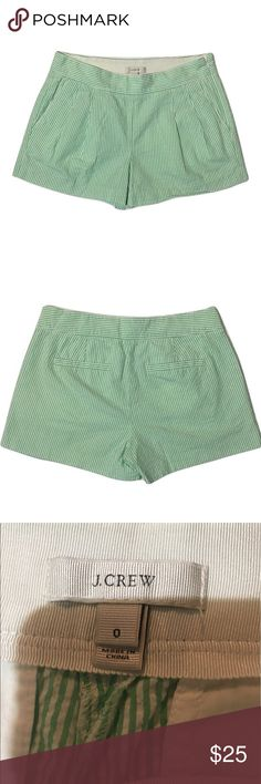 """J. Crew green pinstripe shorts size 0 Excellent condition! Zipper on the side! Flat measurements: Inseam- 3"""". Flat waist- 15"""" and total length- 12""""! Shorts Jean Shorts"""