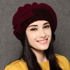 New bow decorative knit beret hat for women winter wear