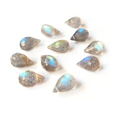 Labradorite Faceted Drop Briolette Beads, Approx 8x5mm, Pack Of 10 Beads by Kernowcraft