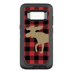 Moose with Buffalo Plaid Lumberjack Print Otterbox OtterBox Defender Samsung Galaxy S8 Case primitive camping, crafty gifts, confirmation gifts #dishscrubber #camper #camperlife, back to school, aesthetic wallpaper, y2k fashion