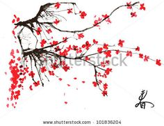 Take top branch off and this would be very cool around wrist.  Realistic sakura blossom - Japanese cherry tree isolated on white background by Piratka, via Shutterstock