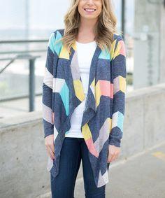 Charcoal & Yellow Stripe Drape Open Cardigan #zulily #zulilyfinds