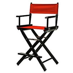 Casual Home 24″ Director's Chair Black Frame-with Red Canvas, Counter Height