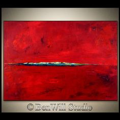 Large RED Abstract Art Original EXPRESSIONIST Painting by benwill, $360.00