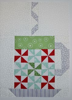 In From The Cold Hot Cocoa quilt block #5 by Grey Dogwood Studio. Pattern and fabric are In From The Cold by Kate Spain.