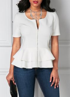 Short Sleeve Zipper Up Flouncing Layered White Blouse on sale only US$31.11 now, buy cheap Short Sleeve Zipper Up Flouncing Layered White Blouse at liligal.com