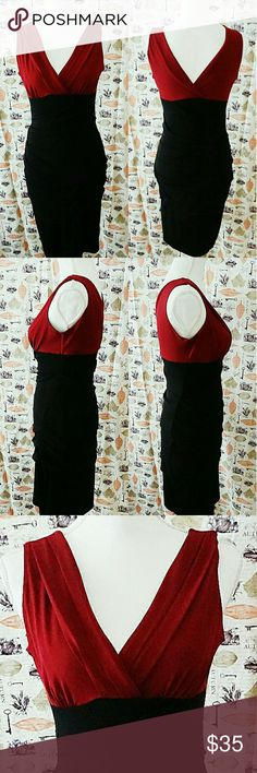 Enfocus Studio Red and Black Bodycon Dress Gorgeous Red and Black Bodycon Dress from Enfocus  Studio. Really nice sturdy but a bit of stretch condition. Size 6 Lining: 100% Polyester Shell: 95% Polyester 5% Spandex  Ships 1-3 Days 15% off Bundles Enfocus Studio Dresses Midi