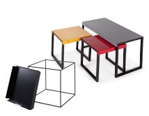 The Mondrian Collection consists of versatile tables. Made from metal to add an industrial look and finished in sleek powder coating in colourful shades. With a coffee table set and tray tables in red, black and yellow.
