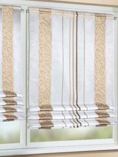Zauberhafter Gardinenrollo mit schmalen Querstreifen und modernen, filligranen Webmuster. Gardinen-Outlet.com
