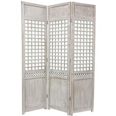 This solid wood room divider, features a simple, elegant lattice on each of its three panels. The exceptional quality shows through in its timeless distressed wood finish and solid wood construction. The classic design makes for an appealing accent for American or European eclectic interior decor.