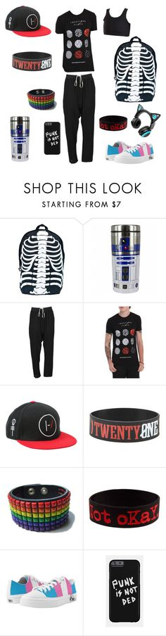 """""""Ryland Dawson travel outfit (oc)"""" by tristajeager ❤ liked on Polyvore featuring Comeco, Rick Owens, Hot Topic, Brookstone, men's fashion and menswear"""