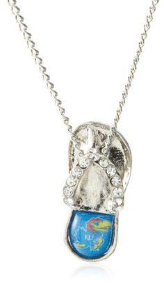 Amazon.com: NCAA Kansas Jayhawks Crystal Flip Flop Necklace: Jewelry