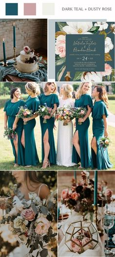 dark teal and dusty rose wedding color ideas wedding colors schemes rustic TOP 10 Wedding Color Ideas For 2020 Unique Wedding Colors, Popular Wedding Colors, Spring Wedding Colors, Wedding Colors Green, Wedding Color Schemes Fall Rustic, Summer Wedding Themes, Wedding Ideas, Summer Weddings, Wedding Trends
