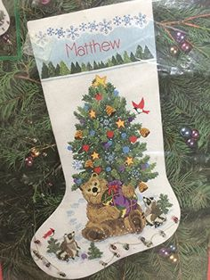 "Dimensions 16"" Stocking Crewel Kit Teddy's Gift Stocking (1996) Dimensions"