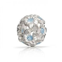 Filigree 925 Sterling Silver Flower CZ Aquamarine March Birthstone