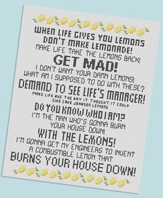 lemon cross stitch I think I might have to make this one haha