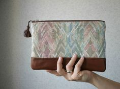 Pastel Ikat Chevron Spring Clutch Purse Leather by HelloVioleta, $32.00