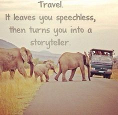 """Travel. It leaves you speechless, then turns you into a storyteller."""