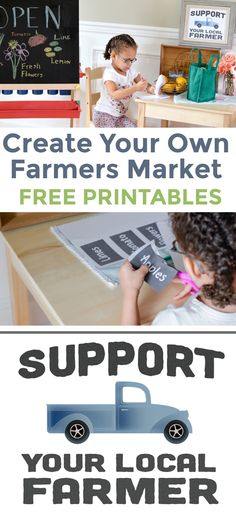 Make your own farmers market for kids! Easy farmers market dramatic play center for young kids and preschoolers. Use your imagination and build your own market with these free printables! Dramatic Play Themes, Dramatic Play Centers, Toddler Activities, Learning Activities, Preposition Activities, Learning Time, Toddler Play, Learning Centers, Early Learning