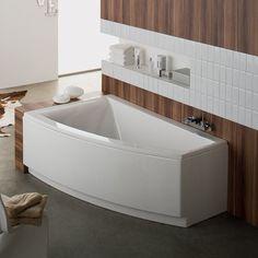 Une baignoire en angle de couleur blanche