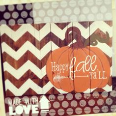 DIY wood pallet sign fall decor pumpkin happy fall yall chevron holiday- but I hate when people spell y'all incorrectly! Fall Halloween, Halloween Crafts, Holiday Crafts, Holiday Fun, Wood Pallet Signs, Pallet Art, Wood Signs, Pallet Crafts, Fall Projects