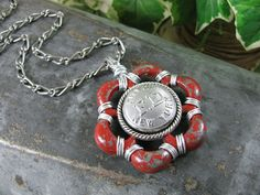 Items similar to Button Jewelry - Fire Dept Theme - September 11 - 911 Jewelry - Vintage Aluminum Red Water Faucet Handle FD Coat Button Long Length Necklace on Etsy Remembering 911, Bullet Designs, Diy Jewelry, Unique Jewelry, Faucet Handles, Vintage Buttons, Key Rings, Bracelet Watch, Upcycle