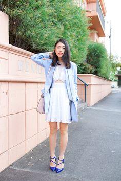 blue coat blue shoes