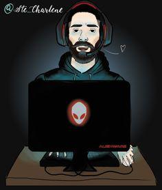 Portrait d'un Geek par @ste_charlene  _____________________________________________ geek nerd jeux vidéos alienware ordinateur gamer gaming homme barbe nuit lumiere ste_charlene illustration art graphique design digital painting dessin cartoon