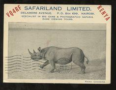 KENYA 1951 PPC RHINO RADIO CARD VQ4RF SAFARI LAND ADVERTISING | eBay