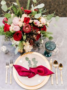 Burgundy Wedding Place Setting and red rose wedding centerpiece | Wedding tablescape decorations | Wedding table decor | Rich Burgundy And Navy Mountain Wedding Inspiration - Mandy Ford Photography #wedding #decor #weddingdecorations #weddings #weddinginspiration #weddingideas #rusticwedding #weddingdecor #ido #bellethemagazine #pretty #weddingflowers #floral #rose #roses #weddingplanning #table #tablesetting #tablescape #tabledecor #centerpieces #centerpieceideas