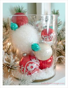 10 Quick Ideas For Decorating With Christmas Ornaments **Ornament Theme** faux snow, glass containers of various sizes & shapes, plates, ornaments