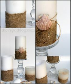 seashell craft embellishments | ... pillar candles a beachy look with sand and seashells. » The V Spot
