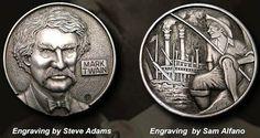 SAM ALFANO/STEVE ADAMS HOBO NICKEL - MARK TWAIN* - NO DATE 2 SIDED BUFFALO NICKEL CARVING Steve Adams, Hobo Nickel, Coin Art, Mark Twain, Coin Collecting, Art Forms, Sculpture Art, Coins, Carving
