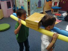 "Carry the ""ark"" in a relay game, a shoe box on some pool noodles."