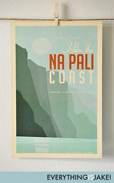 Cool Gift Idea - original artwork for someone who has been to The Na Pali Coast on Kauai, Hawaii.