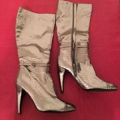 Sam Edelman Metallic Silver Boots Sam Edelman Metallic Silver Snake Skin Patterned Boots with ankle strap accent and side zipper. Very Unique!!! Size 6. True to size!!! Worn once! Sam Edelman Shoes Heeled Boots