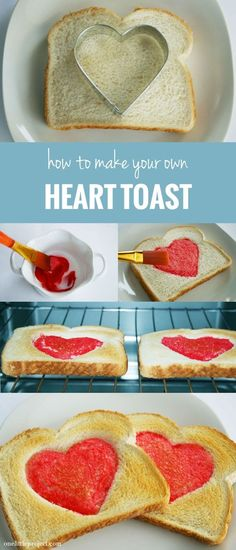 DIY Heart Toast diy valentines day valentines valentines day crafts valentines day ideas food tutorials valentines recipes