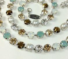 "Swarovski Crystal Necklace and Bracelet   - Designer Inspired -  ""Pacific Dream""  -   Pacific Opal, Swarovski Pearls, & Golden Hues"