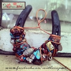 Beautiful Turquoise Rustic Copper Wire Beaded by SouthernJewls, $30.00