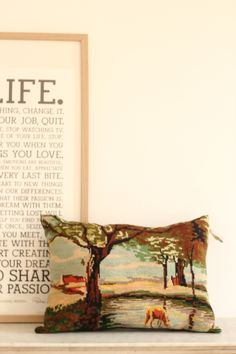 coussin tapisserie vintage paysage champêtre TRENDY LITTLE 1