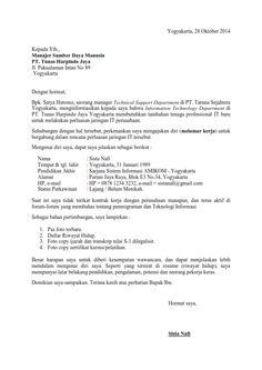 Surat Lamaran Kerja Ke Dinas Ben Jobs Contoh Lamaran Kerja Dan