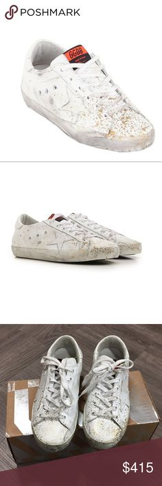 NIB Golden Goose Superstar G31WS590.D52 Size 36 Golden Goose Superstars Style G31WS590.D52 in size 36. (Will fit size 5.5-6). White leather with gold paint splatters. Signature Golden Goose distressing. Worn 1 time for 2 hours (only outside from walking to and from car) so I'm labelling these as NIB. Smoke free home! Originally $515 (as seen in last photo). Any questions, ask! Golden Goose Shoes Sneakers