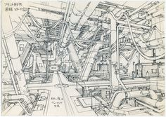Anime_architecture_house_of_illustration_Takashi Watabe: concept design for Ghost in the Shell Innocence © 2004 Shirow Masamune, Kodansha, IG, ITNDDTD Environment Sketch, Environment Design, Shell Drawing, Drawing Faces, Berlin Museum, Arte Cyberpunk, Architecture Background, London Architecture, Urban Architecture
