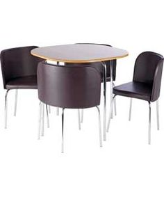 Hygena Round Space Saver Black Dining Table and Chair Set