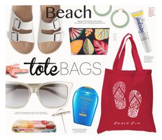 """""""In the Bag: Beach Totes"""" by katarina-blagojevic ❤ liked on Polyvore featuring Los Angeles Pop Art, Aéropostale, Bobbi Brown Cosmetics, Tory Burch, Shiseido, Supergoop!, Palm Beach Jewelry and beachtotes"""