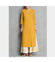 Buy Mustard Pintuck Cotton Kurta by Ruh Apparel Tunics & Kurtas Relaxed… Pakistani Dresses, Indian Dresses, Indian Outfits, Mode Abaya, Mode Hijab, Modest Fashion, Hijab Fashion, Fashion Outfits, Style Fashion
