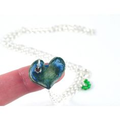 Handmade Heart Necklace Ceramic and Fused Glass Blue Green Love Heart... (£22) ❤ liked on Polyvore featuring jewelry, necklaces, silver jewellery, heart chain necklace, blue silver necklace, glass heart necklace and silver necklace