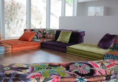 Furniture,Bright Living Room Design Ideas With White Wall And Wooden Flooring Featuring Colorful Velvet And Floral Pattern Mah Jong Modular Sofa,Stunning Mah Jong Sofa Design For Beautify Your Interior Ideas